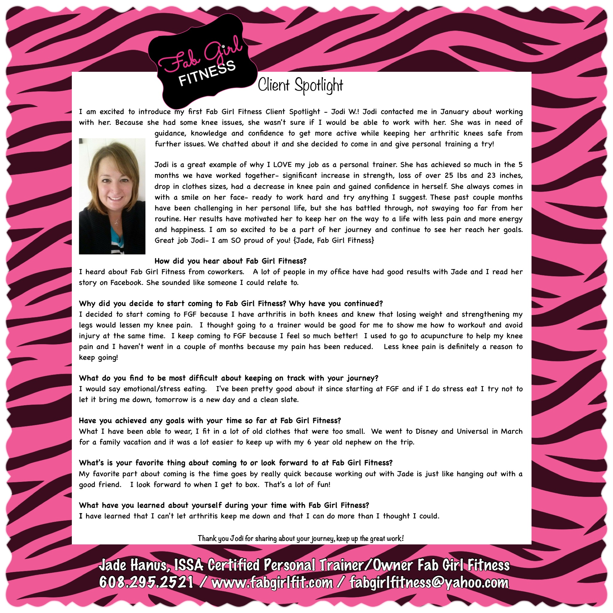 Personal training client spotlights fab girl fitness personal training client spotlights xflitez Images